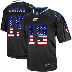 Wholesale Cheap Nike Colts #19 Johnny Unitas Black Men\'s Stitched NFL Elite USA Flag Fashion Jersey