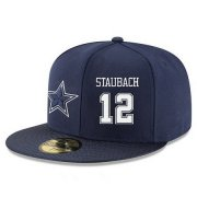 Wholesale Cheap Dallas Cowboys #12 Roger Staubach Snapback Cap NFL Player Navy Blue with White Number Stitched Hat