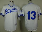 Wholesale Cheap Royals #13 Salvador Perez White 1974 Turn Back The Clock Stitched MLB Jersey