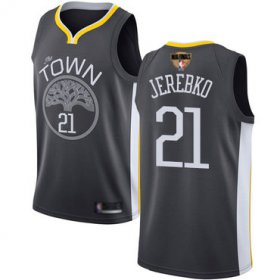 Wholesale Cheap Warriors #21 Jonas Jerebko Black 2019 Finals Bound Basketball Swingman Statement Edition Jersey