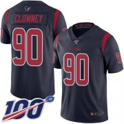 Wholesale Cheap Nike Texans #90 Jadeveon Clowney Navy Blue Youth Stitched NFL Limited Rush 100th Season Jersey