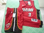 Wholesale Cheap Miami Heat 3 Dwyane Wade red swingman Basketball Suit