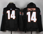 Wholesale Cheap Cincinnati Bengals #14 Andy Dalton NFL Pullover Hoodie Black