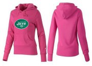 Wholesale Cheap Women's New York Jets Logo Pullover Hoodie Pink