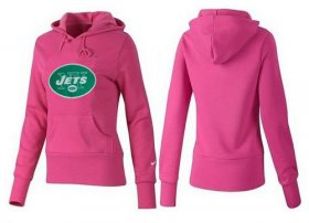Wholesale Cheap Women\'s New York Jets Logo Pullover Hoodie Pink