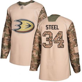Wholesale Cheap Adidas Ducks #34 Sam Steel Camo Authentic 2017 Veterans Day Youth Stitched NHL Jersey
