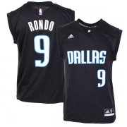 Wholesale Cheap Men's Dallas Mavericks #9 Rajon Rondo Black Fashion Replica Jersey
