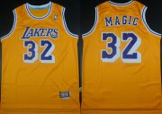 Wholesale Cheap Los Angeles Lakers #32 Magic Nickname Yellow Swingman Throwback Jersey