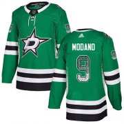 Wholesale Cheap Adidas Stars #9 Mike Modano Green Home Authentic Drift Fashion Stitched NHL Jersey