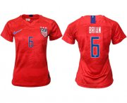 Wholesale Cheap Women's USA #6 Brian Away Soccer Country Jersey