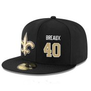 Wholesale Cheap New Orleans Saints #40 Delvin Breaux Snapback Cap NFL Player Black with Gold Number Stitched Hat