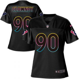 Wholesale Cheap Nike Texans #90 Jadeveon Clowney Black Women\'s NFL Fashion Game Jersey