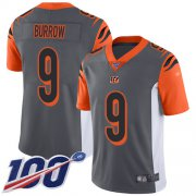 Wholesale Cheap Nike Bengals #9 Joe Burrow Silver Men's Stitched NFL Limited Inverted Legend 100th Season Jersey