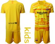 Wholesale Cheap Barcelona Blank Yellow Goalkeeper Kid Soccer Club Jersey