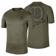 Wholesale Cheap Dallas Cowboys #18 Randall Cobb Olive 2019 Salute To Service Sideline NFL T-Shirt