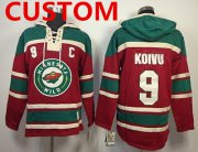 Wholesale Cheap Custom Old Time Hockey Minnesota Wild Red Hoodie