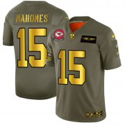 Wholesale Cheap Kansas City Chiefs #15 Patrick Mahomes NFL Men's Nike Olive Gold 2019 Salute to Service Limited Jersey