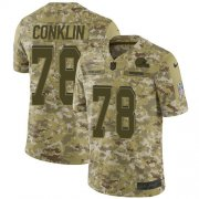 Wholesale Cheap Nike Browns #78 Jack Conklin Camo Youth Stitched NFL Limited 2018 Salute To Service Jersey