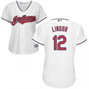 Wholesale Cheap Indians #12 Francisco Lindor White Women's Home Stitched MLB Jersey