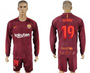 Wholesale Cheap Barcelona #19 Digne Sec Away Long Sleeves Soccer Club Jersey