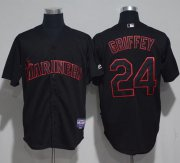 Wholesale Cheap Mariners #24 Ken Griffey Black Strip Stitched MLB Jersey