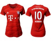Wholesale Cheap Women's Bayern Munchen #10 Robben Home Soccer Club Jersey