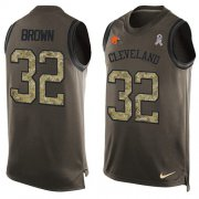 Wholesale Cheap Nike Browns #32 Jim Brown Green Men's Stitched NFL Limited Salute To Service Tank Top Jersey