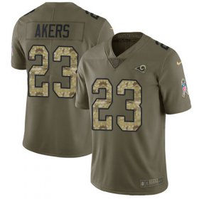 Wholesale Cheap Nike Rams #23 Cam Akers Olive/Camo Men\'s Stitched NFL Limited 2017 Salute To Service Jersey
