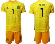 Wholesale Cheap Spain #1 De Gea Yellow Goalkeeper Soccer Country Jersey
