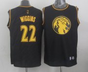 Wholesale Cheap Minnesota Timberwolves #22 Andrew Wiggins Revolution 30 Swingman 2014 Black With Gold Jersey