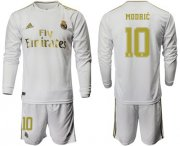 Wholesale Cheap Real Madrid #10 Modric White Home Long Sleeve Soccer Club Jersey