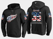 Wholesale Cheap Red Wings #35 Jimmy Howard NHL Banner Wave Usa Flag Black Hoodie