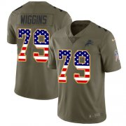 Wholesale Cheap Nike Lions #79 Kenny Wiggins Olive/USA Flag Youth Stitched NFL Limited 2017 Salute To Service Jersey