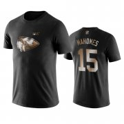 Wholesale Cheap Chiefs #15 Patrick Mahomes Black NFL Black Golden 100th Season T-Shirts