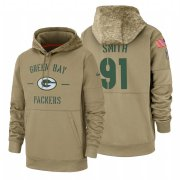 Wholesale Cheap Green Bay Packers #91 Preston Smith Nike Tan 2019 Salute To Service Name & Number Sideline Therma Pullover Hoodie
