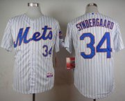 Wholesale Cheap Mets #34 Noah Syndergaard White(Blue Strip) Home Cool Base Stitched MLB Jersey