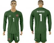 Wholesale Cheap Russia #1 Akinfeev Army Green Long Sleeves Goalkeeper Soccer Country Jersey