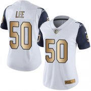 Wholesale Cheap Nike Cowboys #50 Sean Lee White Women's Stitched NFL Limited Gold Rush Jersey