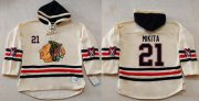 Wholesale Cheap Blackhawks #21 Stan Mikita Cream Heavyweight Pullover Hoodie Stitched NHL Jersey