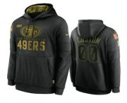 Wholesale Cheap Men's San Francisco 49ers Custom Black 2020 Salute To Service Sideline Performance Pullover Hoodie