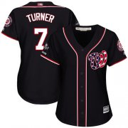Wholesale Cheap Nationals #7 Trea Turner Navy Blue Alternate 2019 World Series Champions Women's Stitched MLB Jersey