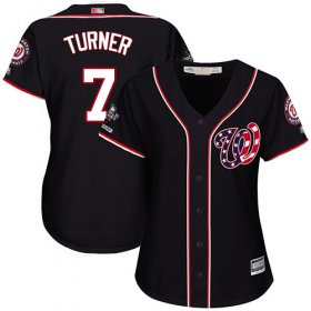 Wholesale Cheap Nationals #7 Trea Turner Navy Blue Alternate 2019 World Series Champions Women\'s Stitched MLB Jersey