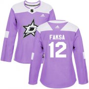 Cheap Adidas Stars #12 Radek Faksa Purple Authentic Fights Cancer Women's Stitched NHL Jersey