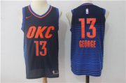 Wholesale Cheap Men's Oklahoma City Thunder #13 Paul George Navy Blue 2017-2018 Nike Swingman Stitched NBA Jersey