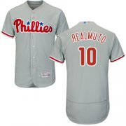 Wholesale Cheap Phillies #10 J. T. Realmuto Grey Flexbase Authentic Collection Stitched MLB Jersey