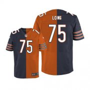 Wholesale Cheap Nike Bears #75 Kyle Long Navy Blue/Orange Men's Stitched NFL Elite Split Jersey