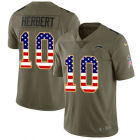 Wholesale Cheap Nike Chargers #10 Justin Herbert Olive/USA Flag Youth Stitched NFL Limited 2017 Salute To Service Jersey