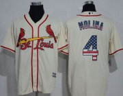 Wholesale Cardinals #4 Yadier Molina Cream USA Flag Fashion Stitched Baseball Jersey