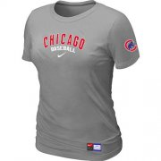 Wholesale Cheap Women's Chicago Cubs Nike Short Sleeve Practice MLB T-Shirt Light Grey