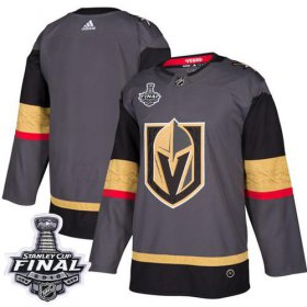 Wholesale Cheap Adidas Golden Knights Blank Grey Home Authentic 2018 Stanley Cup Final Stitched NHL Jersey